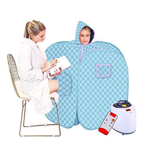 HIXGB draagbare mobiele stoomsauna, huishoudopvouwbare detox, fumigatie, badklok, gewichtsverlies, dubbele sauna tent, 0-99 minuten timer, 1-9 temperatuuraanpassing, 80 * 100 cm / 31.50 * 39.37 in,blauw