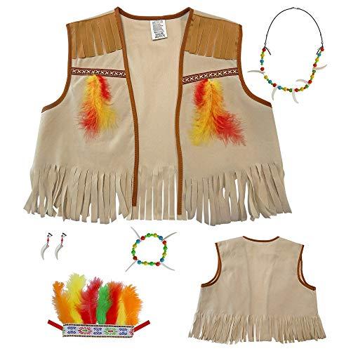 Widmann AC2163 4286I - Kinderkostümset Indianer, Weste, Kopfschmuck und Zubehör