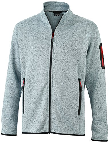 James & Nicholson Herren Jacke Jacke Knitted Fleece Jacket grau (Light-Grey-Melange/Red) Large