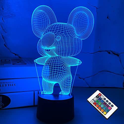 3D Koala Nachtlicht Animal Illusion LED Lampe für Kinderzimmer Dekoration mit Fernbedienung 16 Farbwechsel Einzigartige Weihnachten Halloween Geburtstagsgeschenk für Kind Baby Boy Girl