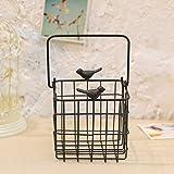 LQQGXL Iron bird round iron net hanging tray wall iron basket hanging basket, shopping basket, basket Flower stand ( Color : B )
