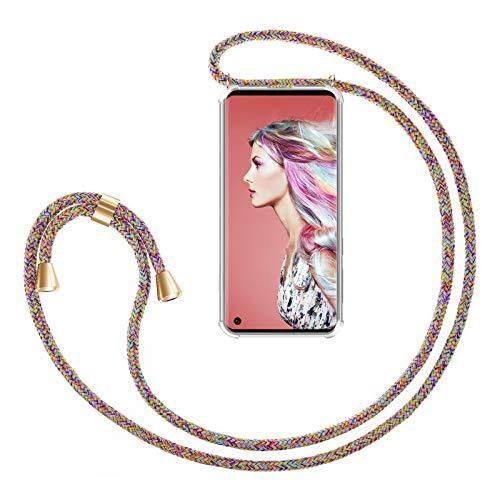 ZhinkArts Handykette kompatibel mit Samsung Galaxy S10 - Smartphone Necklace Hülle mit Band - Handyhülle Case mit Kette zum umhängen in Rainbow