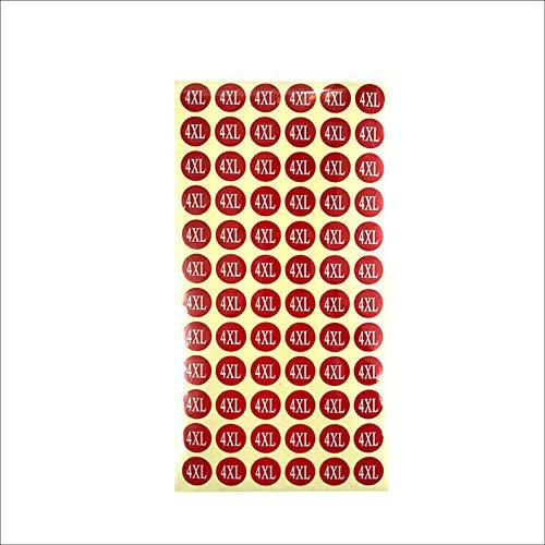 サイズシール 4XL サイズ 業務用 大きさ=直径1.4cm 赤地に白文字 1シートに72枚のシールが15シート(1080枚分)入り 仕分け 梱包 ラベル 服 表示 アパレル サイズ表示 size フリマ ラクマ イベント アパレル 店舗出店 在庫管理 デ
