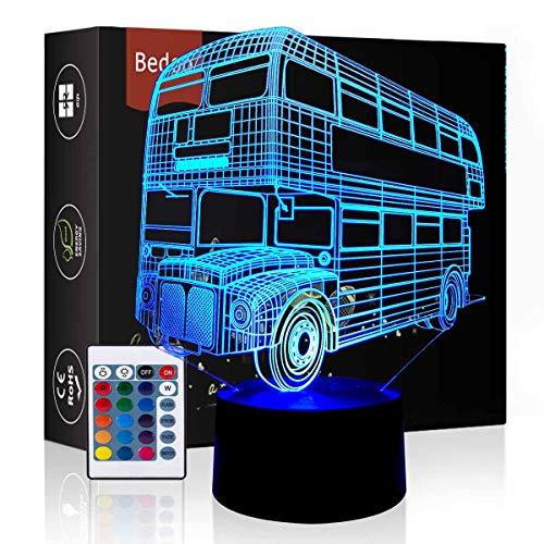 Bedoo Bus Lampe 3D Illusion 16 Farben Touch Switch Dekoration Lampen mit Fernbedienung