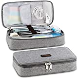 Homecube Pencil Case Big Capacity Pen Marker Holder Pouch Box Makeup Bag Oxford Cloth Large Storage Stationery Organizer with Zipper for School Office - Gray