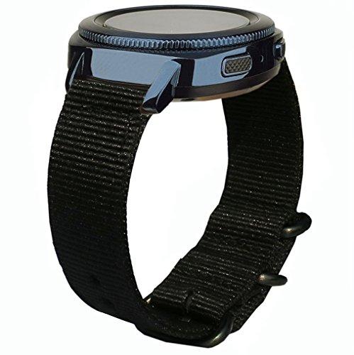 Samsung Gear Sport Armband, OTOPO 20mm Quick Release Premium Woven Nylon Ersatzband Armband für Samsung Gear Sport SM-R600 / Gear S2 Classic SM-R732/SM-R735 Smart Watch (Nato Nylon Schwarz)