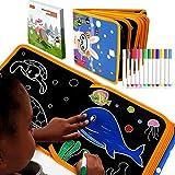ポータブル 消せる落書きパッド 子供用 - 15歳以上の動物 落書きモデル 6枚のライティングボード マグナ両面再使用ドローイングボード 12本の消せる色付きペン Doodle Pro 旅行用ドローイングブック