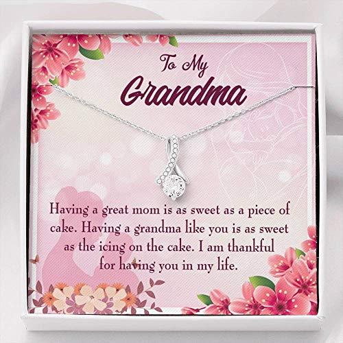 Express Your Love Gifts Colgante de piedra con cinta de la eternidad de la abuela, regalo de la abuela, de acero inoxidable de 14 quilates, 45,7 a 55,8 cm