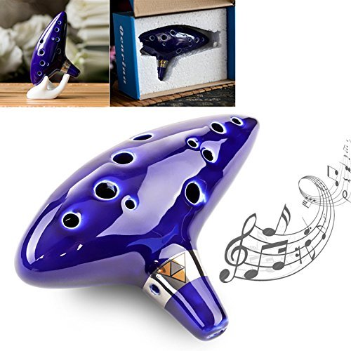 【Christmas Best Gift】OriGlam Legend of Zelda Ocarina of Time Triforce Link 12 Hole Alto C Mediant Tone Ocarina Zelda Cosplay Ceramic Replica