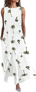comprar comparacion MOMOXI Vestido para Mujer, Vestido Largo sin Mangas con Cuello en v Impreso de la Mujer Vestido Largo con Dobladillo bajo ...
