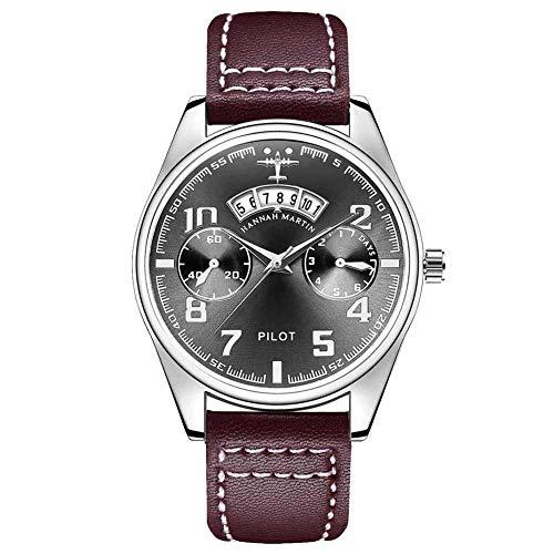 JTTM Reloj De Piloto con Correa De Cuero Calendario Reloj Aviación Casual De Negocios Reloj Hombres,HK