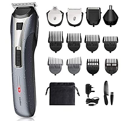 Mens All in One Trimmer, Beard Trimmer Hair Clipper Grooming Kit - Multifunctional Rechargeable Cordless for Beard Head Body & Face Nose and Ear Hair Trimmer, IPX6 Waterproof for Easy Cleansing from Corlitec