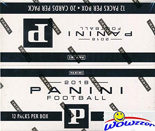2018 Panini NFL Football EXCLUSIVE MASSIVE Factory Sealed JUMBO FAT Pack Box with 240 Cards!Look for Rookies & Autos of Baker Mayfield, Saquon Barkley, Sam Darnold, Josh Allen & More! WOWZZER!