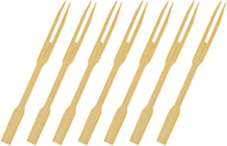 Fan-Ling 80PCS Disposable Bamboo Catering Forks Fruit Stick Finger Food Pick,Fruit Forks
