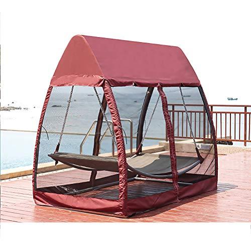 ZEIYUQI Terrasse Schaukel Stuhl Lounger Hängematte Sonnendach mit Stand 2 Person Heavy Duty Can Be für Veranda Garten Hinterhof Gebraucht,Rot