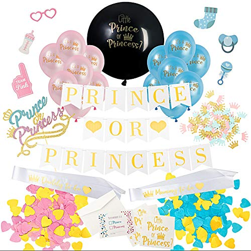 Prince or Princess Dekorations Set Baby Gender Reveal Party Geschlecht Offenbaren XXL Ballon Mit Konfetti, Baby Folienballon, Boy Or Girl Banner, Deko für Baby Shower (Prince or Princess)
