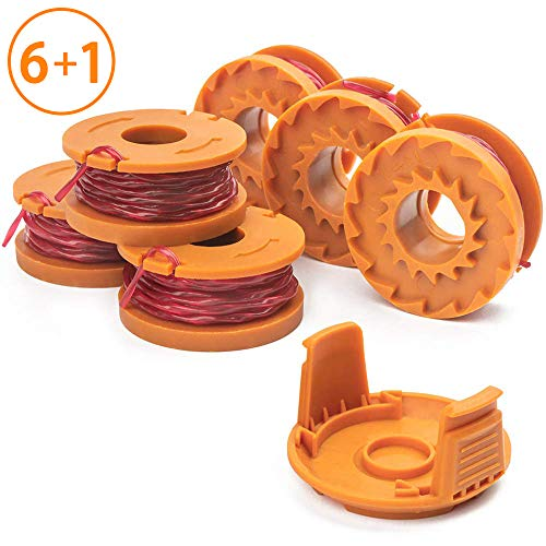 X Home Weed Eater String Spool Compatible with Worx WA0010 WG180 WG163 Edger, String Trimmer Replacement Spools Line Refills 10ft 0.065 inch, with WA6531 GT Spool Covers (6 Spools, 1 Cap)