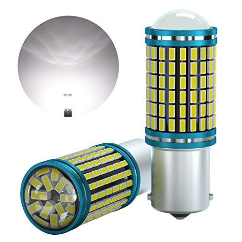 LUMENEX 1156 P21W LED Bombilla Ba15s 144SMD 12V 24V para RV Luces Coche Traseras Marcha Atrás Luz de Señal de Giro Luz Diurnas Luces 6000K Blanco 2 Piezas