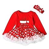 Longra Kleinkind Neugeborene Baby Mädchen Brief Dot Tutu Kleid Weihnachten Outfits Kleidung Set Baby Prinzessin Kleid Kostüm(0-18Monate) (90CM 12Monate, Red)