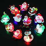 BUDI 50Pcs Christmas Party Favors LED Finger Lights for Kid & Adults Light Up Rings Stocking Stuffers Light Up Toys Rings Party Decorations Assorted Styles with Gift Package