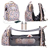 3 in 1 Diaper Bag Backpack Foldable Baby Bed Multi-Functional Mommy Bag with USB Charge, Large Capacity Baby Changing Bag with Changing Situation,Portable Bassinet Camouflage