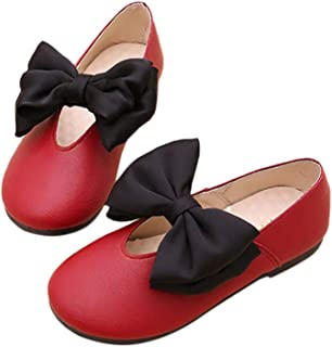 Hopscotch Girls PU Shoes with Black Double Bow - Red