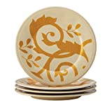 Rachael Ray Dinnerware Gold Scroll 4-Piece Round Appetizer Plate Set, Almond Cream