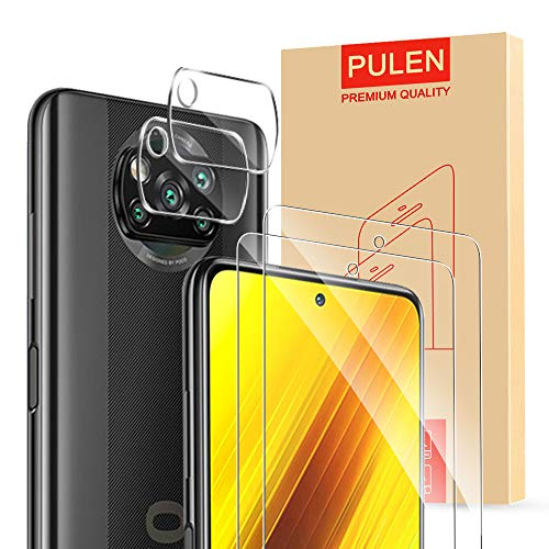 Price comparison product image [4-Packs] PULEN for Xiaomi Poco X3 NFC Screen Protector (2 packs) with 2 Packs Camera Lens Protector, HD Clear Anti-fingerprints Anti-Scratch 9H Hardness Tempered Glass