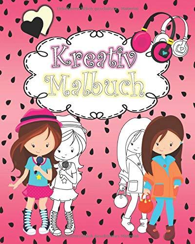 Kreativ Malbuch: coole Mode Design Ausmalbilder, Make up Gesichter, Rasterbilder für Mädchen ab 8 Jahren, Ideal als Geschenkidee