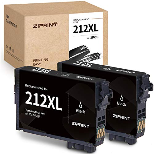 ZIPRINT Remanufactured Ink Cartridge Replacement for Epson 212 212XL T212 use for Expression Home XP-4105 XP-4100 Workforce WF-2850 WF-2830 All-in-One Printer (Black, 2-Pack)