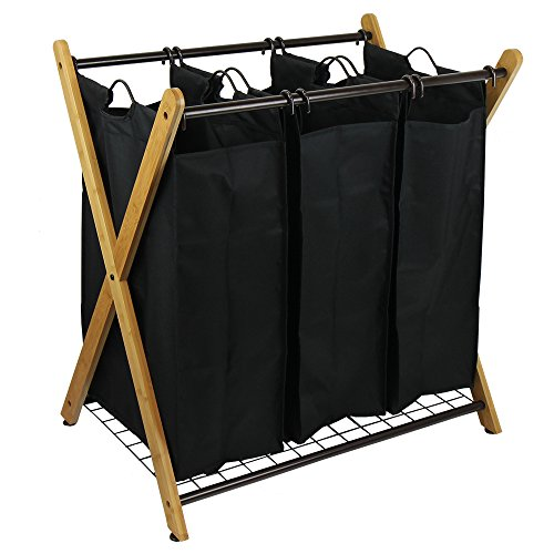 Product Image of the Oceanstar XBS1484 Bamboo 3-Bag Laundry Sorter Black, 29.75 in. H x 19.10 in. W x 27 in.
