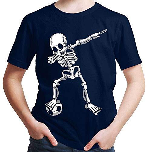 HARIZ Jungen T-Shirt Dab Skelett mit Fussball Dab Teenager Dance Weihnachten Plus Geschenkkarten Deep Navy Blau 152/12-13 Jahre