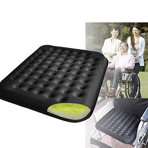LOVEQIZI Anti-Dekubitus-Kissen Orthopädisches Gel-verbessertes Komfortschaum-Sitzkissen Gel-Kissen Druckentlastungssitz Atmungsaktives Rollstuhl-Sitzkissen Büro-Sitzkissen-Zubehör