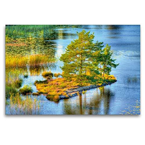 Premium - Lienzo textil 120 cm x 80 cm horizontal, Sehnsucht Suecia, isla con árboles en el mayor lago de Suecia, cuadro de pared, imagen en calendario Sehnsucht Suecia, Calvendo Orte