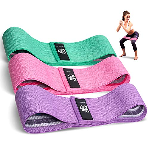 Resistance Bands Set of 3 for Legs and Butt Workout Fabric Booty Elastic Band Gym Exercise Equipment Fitness Squat Sports Glute Stretch Leg Resistant Bands for Working Out for Women & Men