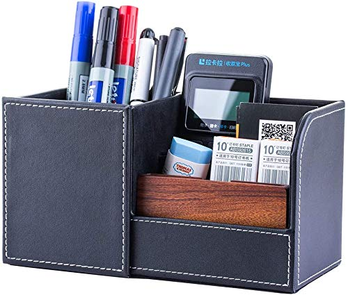 Leather Pen Pencil Holder Desk Stationery Organizer Storage Mobile Phone/Business Card/Pen/Pencil Office Home Accessories Storage Box
