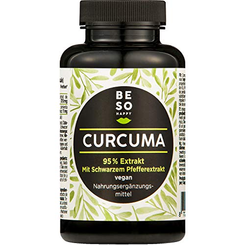 BeSoHappy® Kurkuma-Extrakt 95% + schwarzem Pfeffer (90 Kapseln für 3 Monate) mit Hochwertigen, Sehr Effektiven Inhaltsstoffen – Laborgeprüft und Getestet in Deutschland