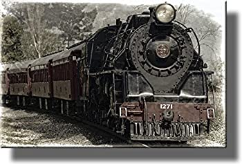 Train Locomotive Picture on Stretched Canvas Wall Art Décor Ready to Hang!