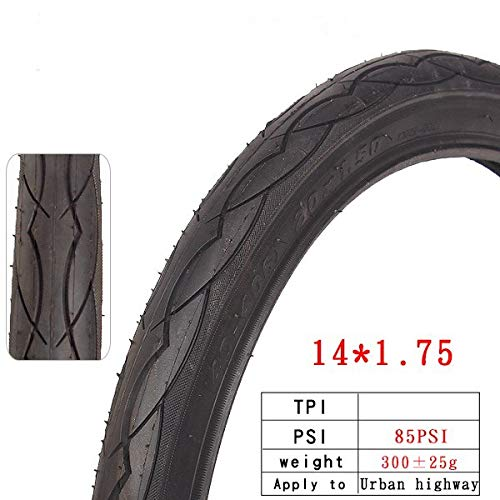 BFFDD City Bicycle Tire Steel Wire 14 20 26 Inches 201.5 201-3/8 60TPI 1.25 1.75 Half Bald Headed Bike Tires Parts (Color : 14X1.75)