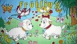 U24 Fahne Flagge Frühling mit Schafe Frühjahrsfahne 90 x 150 cm