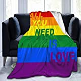 Belgala Blanket Rainbow Gay Pride Flag Flannel Fleece Throw Blankets for Baby Kids Men Women,Soft Warm Blankets Queen Size and Throws for Couch Bed Travel Sofa 50X40 Black