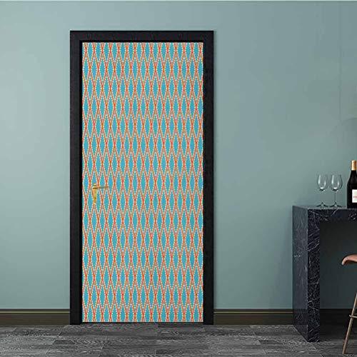 Adesivo 3D per porta con motivo a cerchi piccoli e colorati con effetto grunge, facile da pulire, resistente, multicolore, PVC, Multi - 07, K77xG200 cm