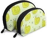 Ches Shell Bolsa portátil con cremallera 2 bolsos, apto para cosméticos de mujer, bolsos/bolsos, accesorios para mujeres, caracol verde uno tras otro