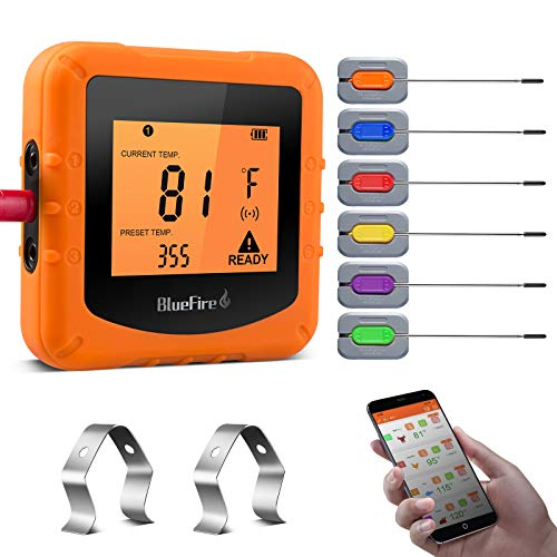 Bluefire Termometro Cucina, Termometro Digitale Barbecue, Wireless Bluetooth Termometro con 6 Sonde, Timer e Display LCD, per Barbecue, Cucina, Bistecca, Grill, Forno, Carne, Supporta iOS e Android