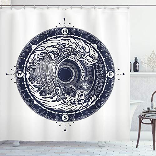 ABAKUHAUS Kompass Duschvorhang, See-Navigation große Welle, mit 12 Ringe Set Wasserdicht Stielvoll Modern Farbfest und Schimmel Resistent, 175x200 cm, Nachtblau Weiß