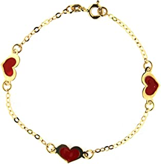18 K yellow gold pink flower id bracelet 5.5 inches with extra ring in 5 inches