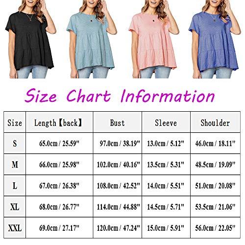Women's Summer Short Sleeve Loose T Shirt High Low Hem Babydoll Peplum Tops(Pink,XXL)