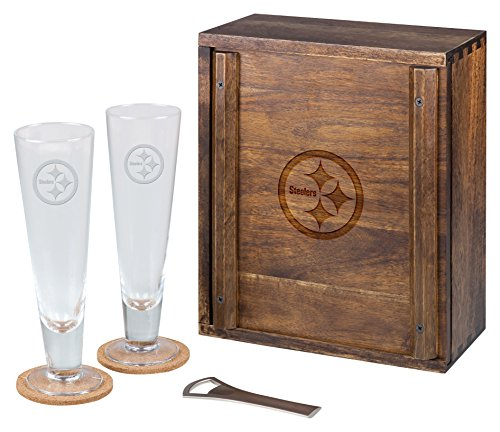 PICNIC TIME NFL Pittsburgh Steelers Acacia Wood Pilsner Beer Glass Gift Set for Two