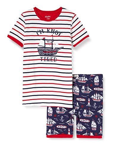 Hatley Organic Cotton Short Sleeve Appliqué Pyjama Sets Conjuntos de Pijama, Azul (Nautical Ships 400), 6 años para Niños