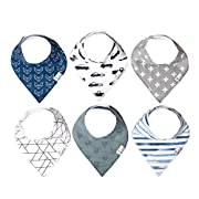 """Baby Bandana Drool Bibs for Drooling and Teething 6 Pack Gift Set for Boys """"Rider"""" by Copper Pearl"""